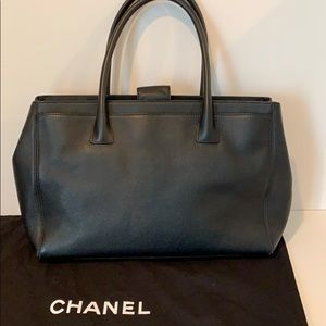 CHANEL Bags - Authentic CHANEL black leather tote